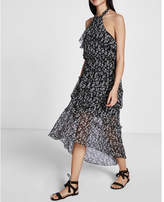 Express Halter Tiered Ruffle Midi Dress