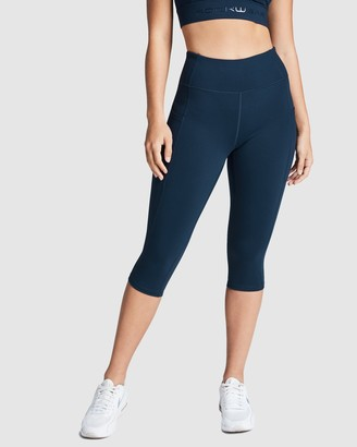 Rockwear - Women's Navy Tights - Perforated Pocket 3-4 Tights - Size One Size, 12 at The Iconic