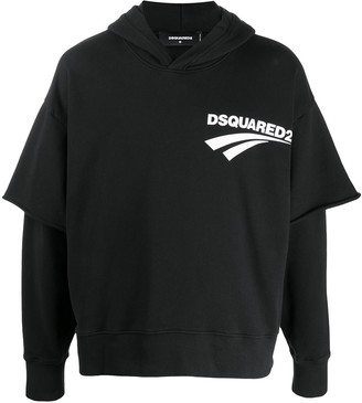 DSQUARED2 Double-Layered Hooded Sweatshirt