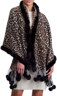 Gorski Double Face Cashmere Leopard-Print Stole w/ Rabbit Fur Trim