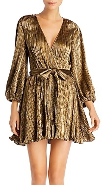 Bardot Bellissa Metallic Plisse Dress