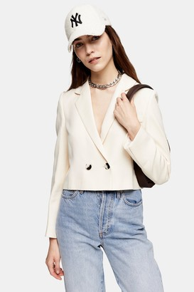 Topshop Ivory Crop Double Breasted Suit Blazer