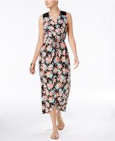 Monteau Petite Lace-Trim Floral-Print Maxi Dress
