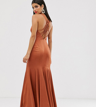Asos Tall DESIGN Tall maxi dress with fishtail skirt and macrame back detail-Copper