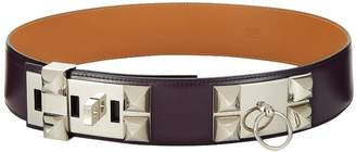 Hermes Raisin Box Leather Collier De Chien Belt 80