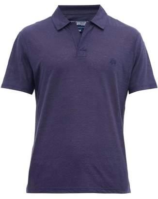 Vilebrequin Pyramid Logo-embroidered Linen Polo Shirt - Mens - Navy