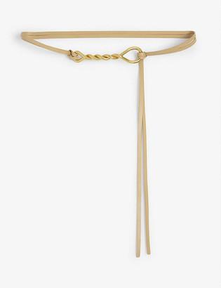 Bottega Veneta Slim leather belt with twist buckle