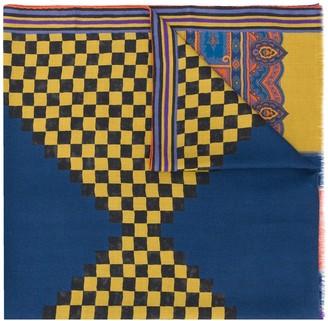 Etro Paisley contrast print scarf