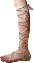 SK Studio Women's Strappy Gladiator Open Toe Lace Up Knee High Flat Sandals