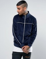 Asos Jersey Velour Track Jacket With Piping In Navy