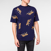 Paul Smith Men's Navy 'Cheetah' Print Raw-Edge Short-Sleeve Sweatshirt