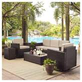 Crosley Palm Harbor 5pc All-Weather Wicker Patio Sofa Conversation Set w/Swivel Chairs