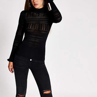 River Island Black knitted long frill sleeve top