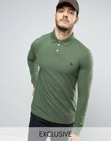 Jack Wills Staplecross Long Sleeve Polo Shirt In Khaki