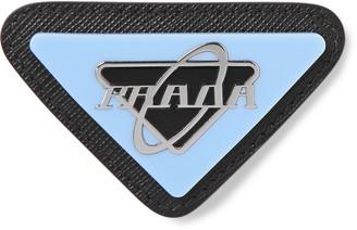 Prada Saffiano Leather, Steel And Enamel Pin Badge