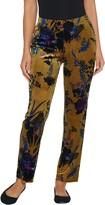Susan Graver Petite Printed Stretch Velvet Pull-On Pants