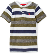 U.S. Polo Assn. Olive Branch & Navy Stripe Henley Tee - Toddler & Boys