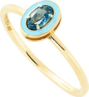 Alison Lou Blue Topaz And Enamel Ring