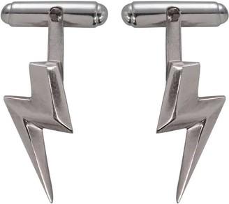 Edge Only 3D Flat Top Lightning Bolt Cufflinks In Silver