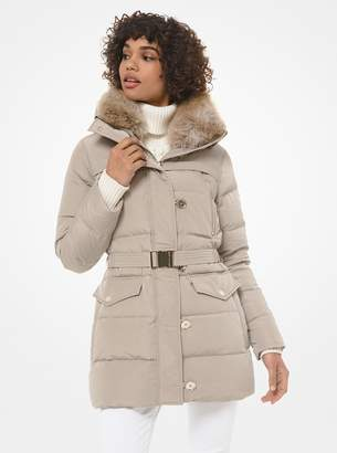 MICHAEL Michael Kors Faux Fur-Trim Quilted Tech Belted Puffer Coat