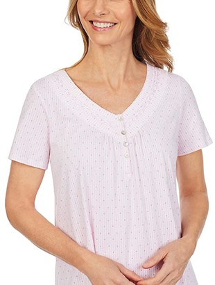 Carole Hochman Soft Jersey Short Sleeve Sleepshirt (Pink Stripe/Dot) Women's Pajama