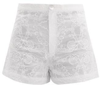 Le Sirenuse Le Sirenuse, Positano - Alma Floral Embroidered Cotton Shorts - Womens - White