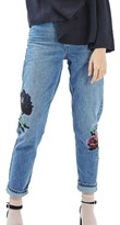Topshop Women's Floral Embroidered Mom Jeans
