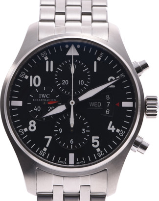 IWC Black Stainless Steel Pilot Chronograph Automatic IW377704 Men's Wristwatch 40 MM