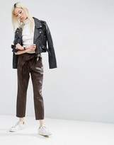 Asos Premium Leather Look Peg Pants with OBI Tie