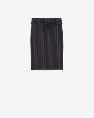 Express High Waisted Pinstripe Tie Front Pencil Skirt