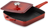 Calphalon Simply Red Enamel Cast Iron 11-Inch Grill Pan with Press