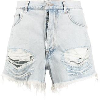 Unravel Project Distressed Denim Shorts