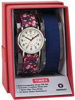 Timex Women's TWG015500 Weekender 31 Red Floral Nylon Slip-Thru Strap Watch Gift Set + Blue Nylon Strap