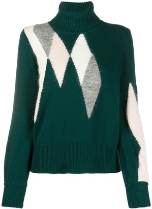 Ballantyne Argyle turtleneck jumper
