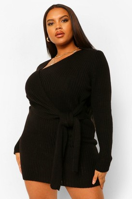 boohoo Plus Knitted Tie Front Cardigan