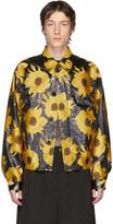 Dries Van Noten Yellow and Black Jacquard Floral Jacket