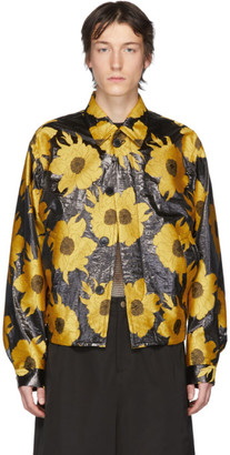 Dries Van Noten Yellow and Black Jacquard Floral Jacket