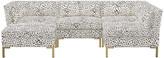 One Kings Lane Marceau U-Shaped Sectional - Cream Cheetah Linen - frame, brass; upholstery, cream/gray