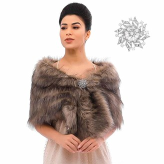 Flrora Sleeveless Faux Fur Shawl Wedding Fur Wraps and Shawls Bridal Fur Stole for Brides and Bridesmaids (Brown)