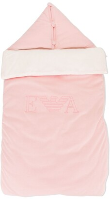 Emporio Armani Kids Embroidered-Logo Sleeping Bag