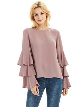 Basic Model Women's Bell Sleeve Tops Round Neck Shirts Ruffled Sleeves Tee Long Sleeve Blouses