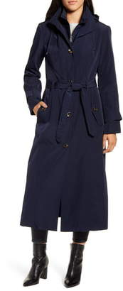 London Fog Hooded Long Trench Coat with Inset Bib