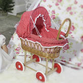 Little Ella James Red Polka Dot Wicker Dolls' Pram