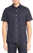 Jack Spade Men's Trim Fit Print Linen Blend Sport Shirt