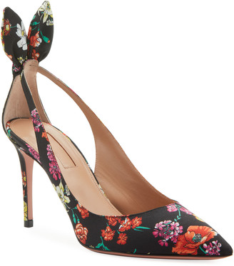 Aquazzura Bow Tie Floral-Print Pointed Pumps