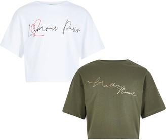 River Island Girls White and khaki printed T-shirt 2 pack