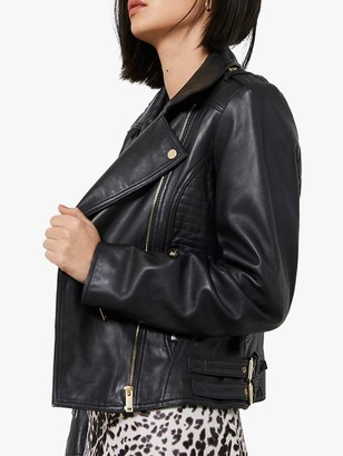 Mint Velvet Fitted Leather Biker Jacket, Black