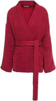 Mes Demoiselles Cherokee Belted Cotton-jacquard Wrap Jacket