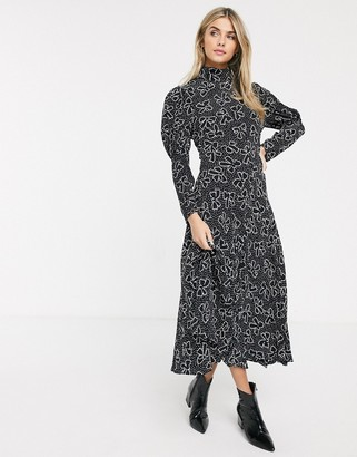 Ghost lia midi dress with puff sleeves in crepe-Black