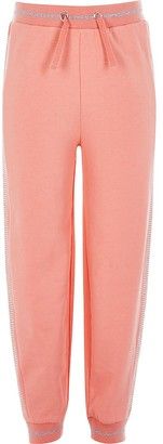 River Island Girls coral diamante side joggers